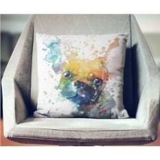 Декоративная наволочка Взрыв цвета: Любимый мопсик