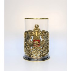 Литой подстаканник Герб России орнаментальный с эмалью
