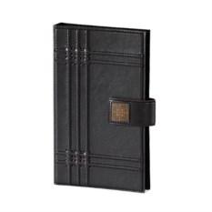 Черная настольная визитница из кожи на 160 карточек