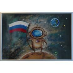 Картина с кристаллами Сваровски Космонавт
