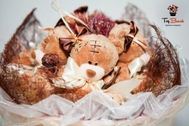Букет из мягких игрушек (коричневый, мишки с заплаткой)