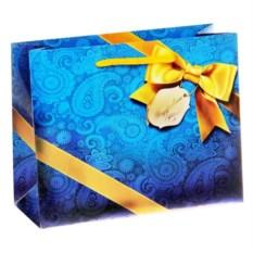 Синий подарочный пакет с бантом