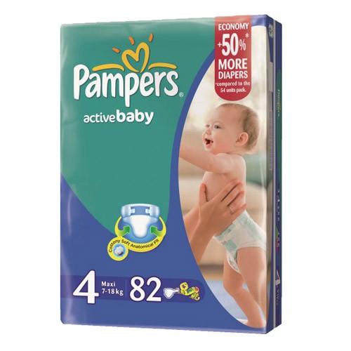 Подгузники Pampers Active Baby Maxi (7-18 кг) 82 шт.