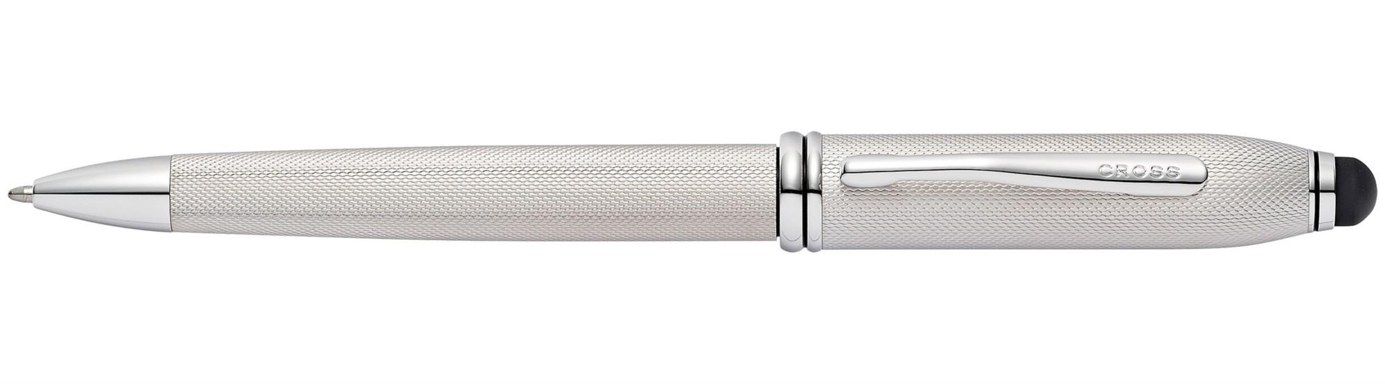 Шариковая ручка со стилусом Townsend Engraved Platinum Plate