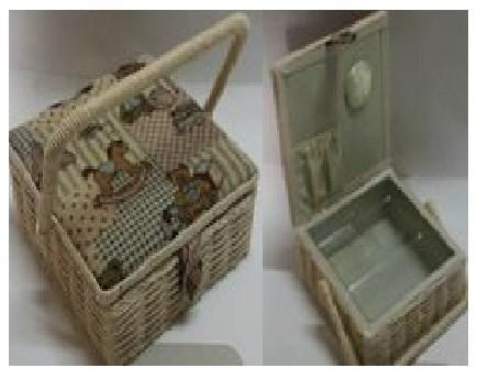 Плетеная шкатулка для рукоделия Сундучок, размер 22х22х10 см