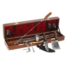 Шашлычный набор из 15 предметов в кожаном кейсе