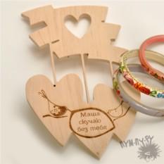 Деревянный сувенир Именное сердечное трио