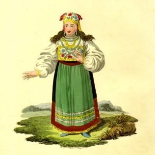 Гравюра «Эстонка в национальном костюме»