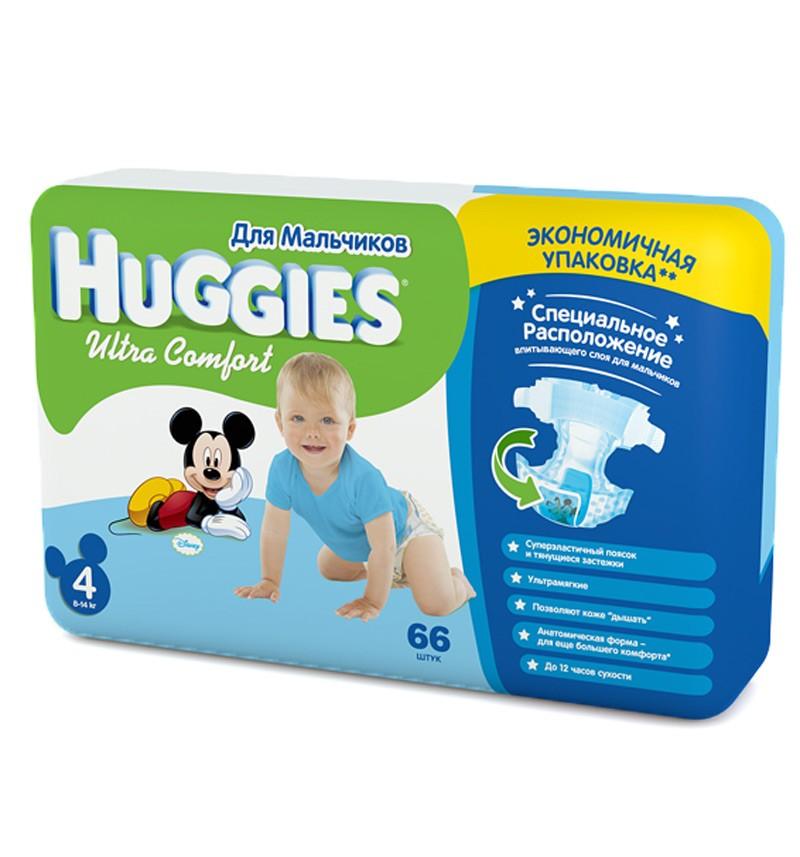 Подгузники Huggies Ultra Comfort Mega 4 (8-14 кг) 66 шт.