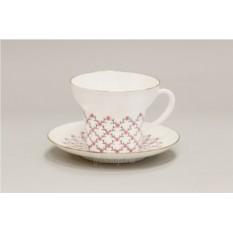 Чайная чашка с блюдцем Розовая сетка