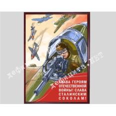 Плакат в рамке под стеклом «Слава сталинским соколам»