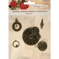 Набор декоративных элементов Vintage Line Часы, 5 шт.