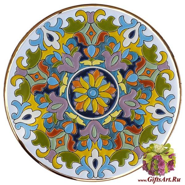 Декоративная тарелка с ручной росписью эмалями и золотом