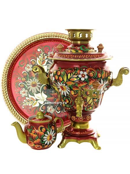 Набор из самовара на 2,5 литра, подноса и чайника
