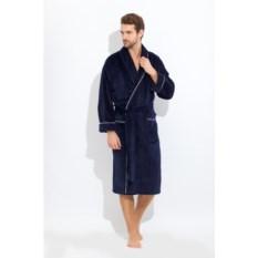 Мужской махровый халат Elegant (цвет: синий)