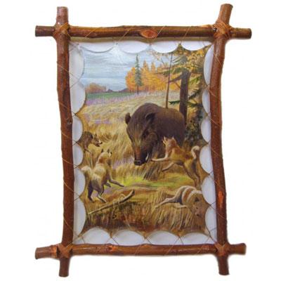 Картина на коже «Охота на кабана»