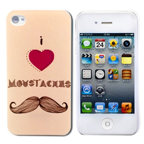 Пластиковый чехол для iPhone 4 I love Mustache