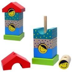 Деревянная детский конструктор-пирамидка «Домик»