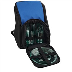 Рюкзак для пикника с термоизоляцией и набором посуды, синий