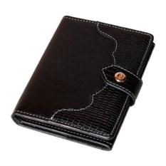 Черное портмоне для документов с отделениями для карт