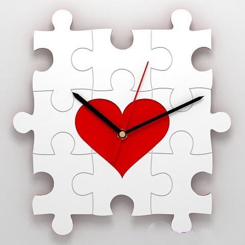 Настенные часы-паззл с сердцем