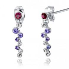 Серьги с фиолетовыми кристаллами Сваровски Фиалка