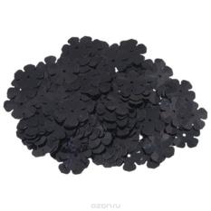 Пайетки Астра (цветочки), с голограммой, черные (А50)