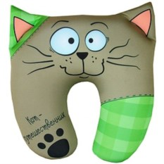 Подушка-антистресс под шею Кот путешественник