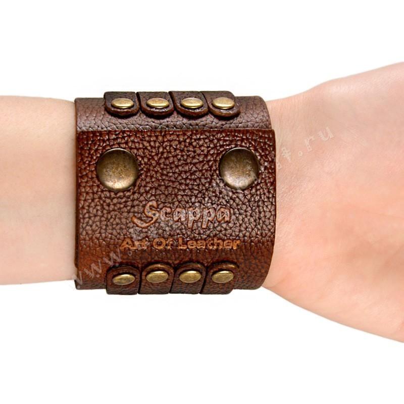Кожаный браслет в стиле Military с латунными вставками