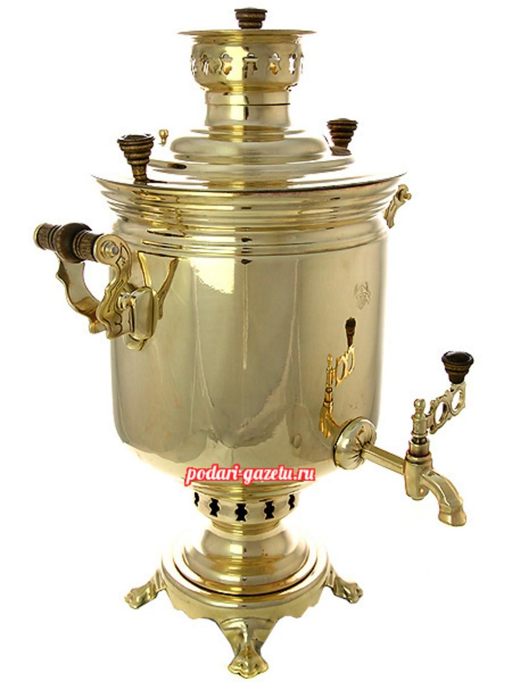 Угольный самовар (жаровый, дровяной) на 7 литров, желтый цилиндр