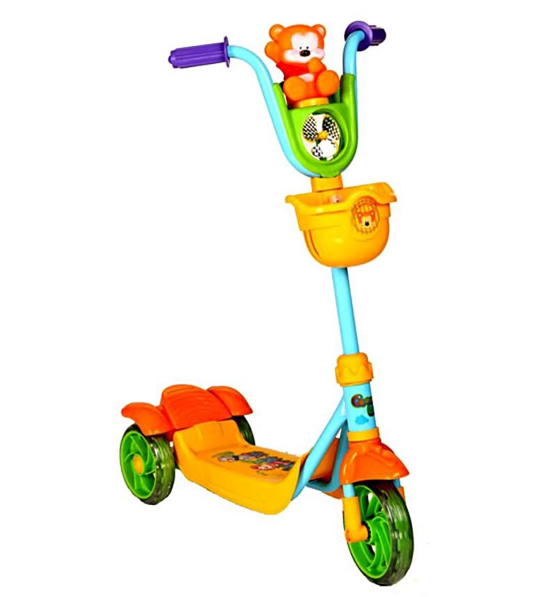 Самокат Leader Kids с игрушкой мишкой , цвет: зеленый/желтый