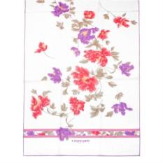 Белый палантин с оригинальными цветками Leonard
