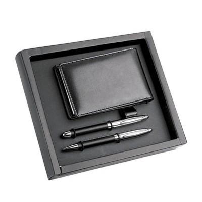 Чёрная визитница с блокнотом, ручкой шариковой и роллером