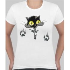 Женская футболка Кот под молнией