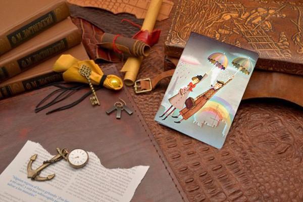 Обложка для автодокументов и паспорта Полосатые зонтики