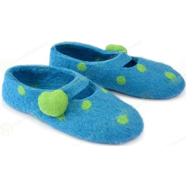 Тапочки в горошек синие