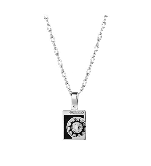 Мужской кулон Graziella из серебра с эмалью на цепи