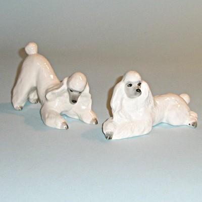 Винтажная пара статуэток пудели Забавы