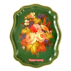 Поднос с художественной росписью Птица в цветах