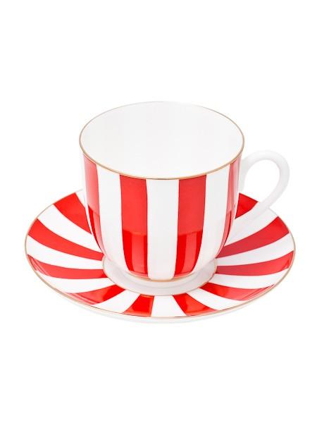 Фарфоровая кофейная чашка с блюдцем Да и нет (красная)