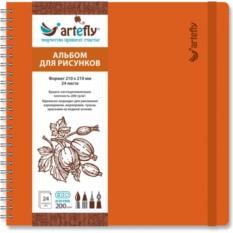 Оранжевый квадратный скетчбук Artefly