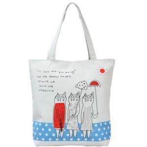 Легкая шоппинг-сумка Kitties (синий газон)