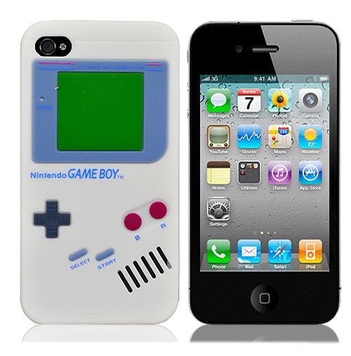 Белый чехол для iPhone4 Game boy