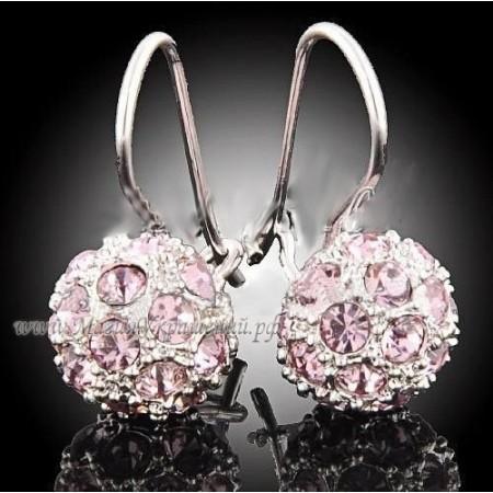 Серьги Нежно-розовые с кристаллами Сваровски