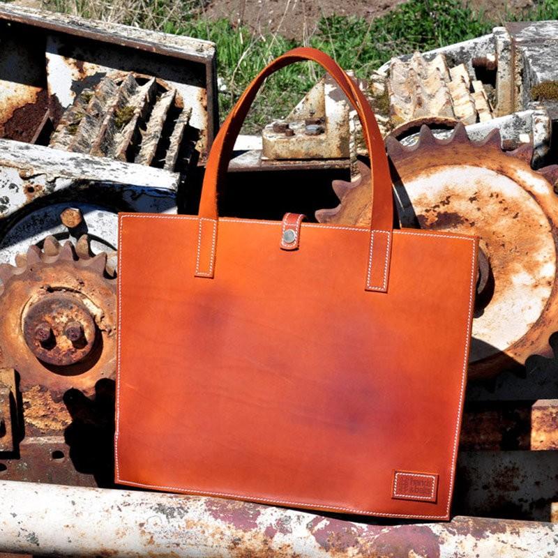 Кожаная сумка, рыжая