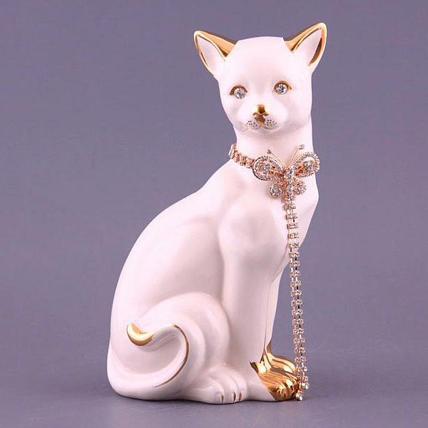 Фигурка «Кошка белая с цепочкой»