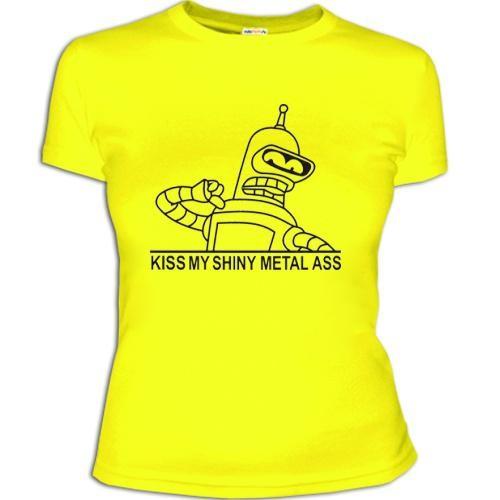 Женская футболка Поцелуй мой блестящий металлический зад