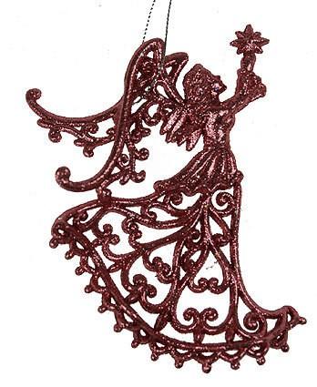 Игрушка ёлочная Ангел розовый, резной
