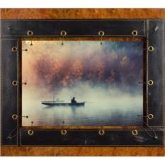 Картина из кожи Рыбак в тумане