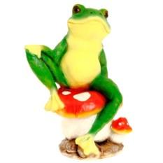 Декоративная садовая фигура Деловая лягушка на мухоморе